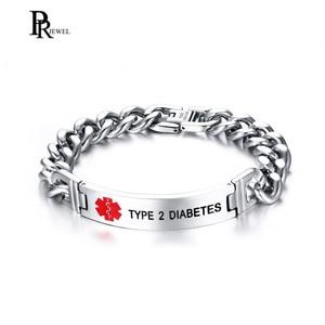 Laser Engrave TYPE 2 DIABETES Medical Alert Chain Link Bracelet For Men Jewelry High Quality Stainless Steel ID Bracelet