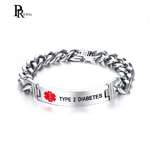 Laser Engrave Type 2 Diabetes Medical Alert Chain Link Bracelet For Men Jewelry High Quality Stainless