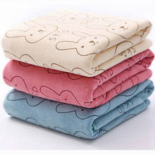 Newest 20x50CM Newborn Infant Baby Kids Soft Flannel Hooded Blanket Bath Towel Cute Rabbit Animal Washcloth Bathing Face Towel(China)