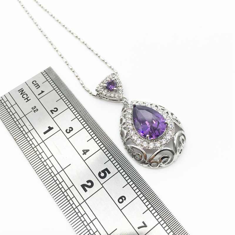 Hollow Tim 925 Sterling Silver Bridal Weddding Jewelry Đặt tím Earrings/Pendant/Vòng Cổ/Vòng Cho Phụ Nữ Miễn Phí Vận Chuyển