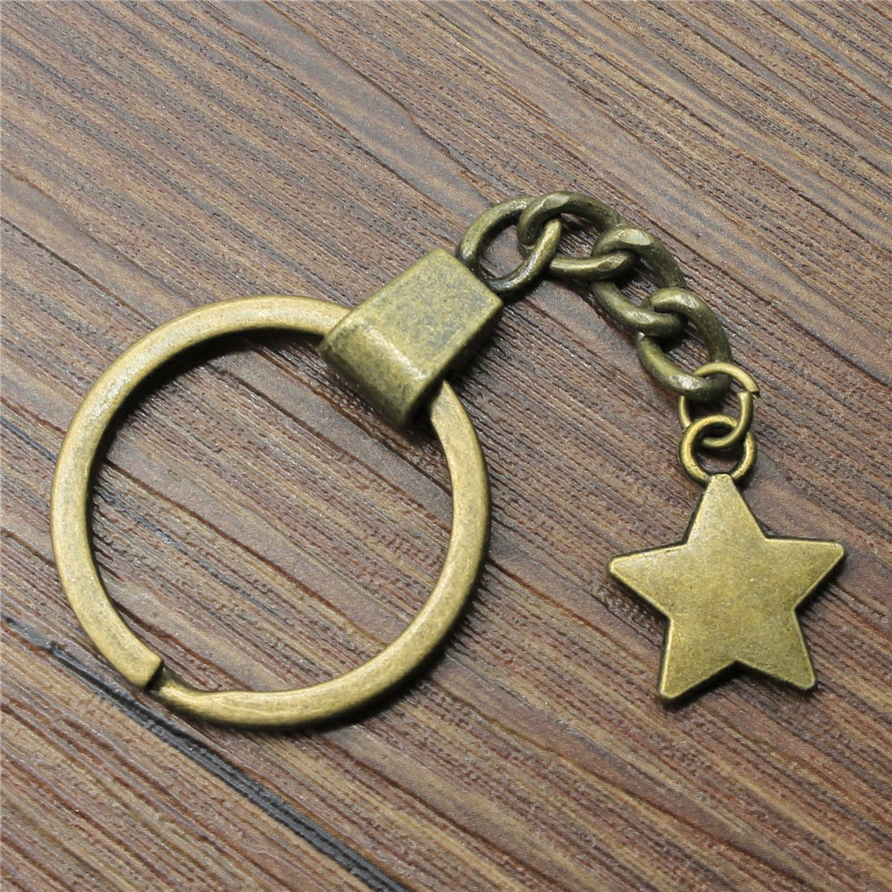 Star Keyring Keychain 20x17mm Antique Bronze Key Chain Souvenir Gifts For Men