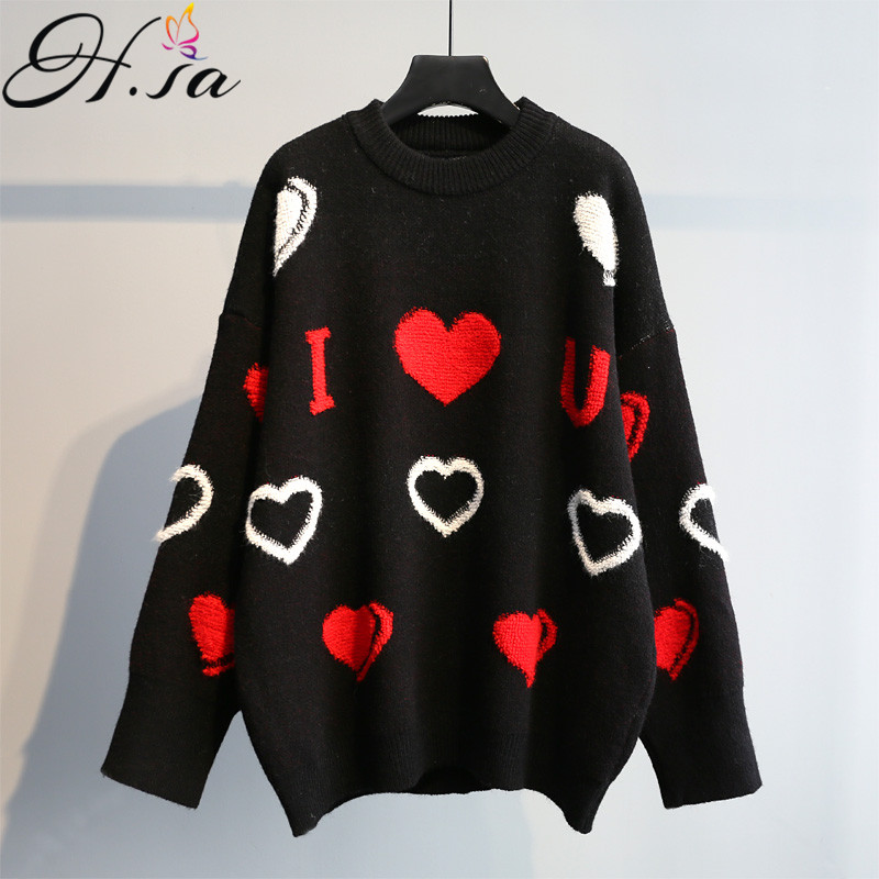 H.SA 2019 Sweater Women Sweet Pullovers Love Heart Casual Pull Jumpers Long SLeeve Oversized Cute Cashmere Sweater Knitwear