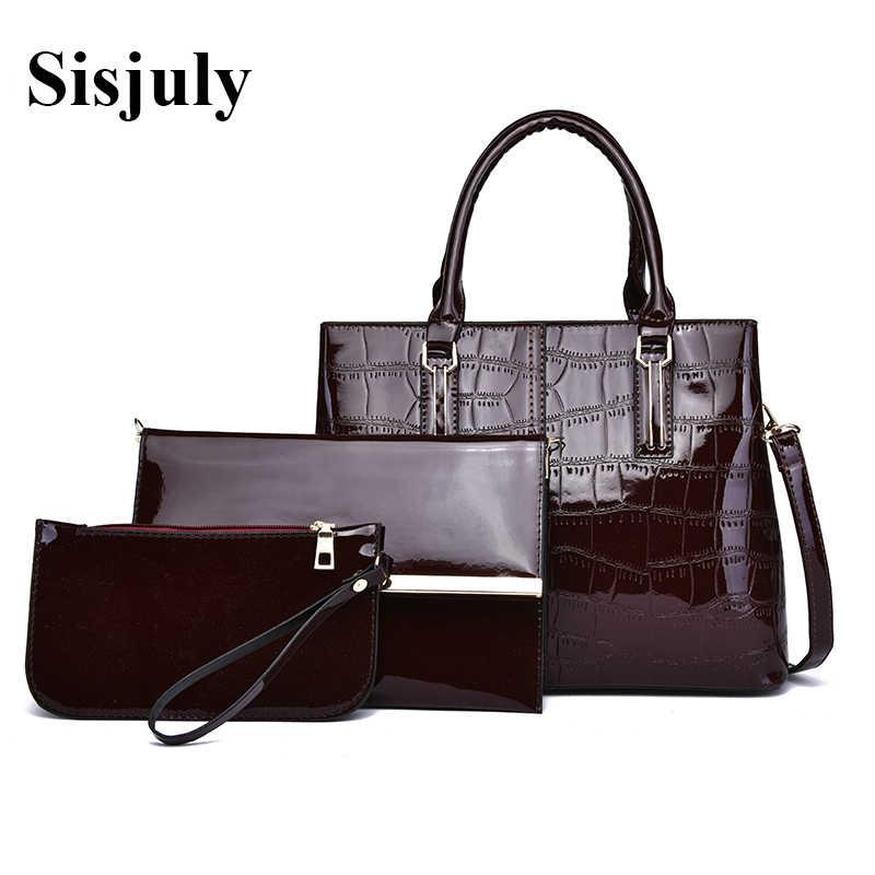 b005e52a2 Vfemage Роскошные для женщин сумки дизайнер 3 шт. комплект лакированная кожа  Tote плеча сумки через