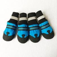 4 Pcs Set Waterproof Anti Slip Paw Protector Winter Dog Shoes Reflective Dogs Labrador Husky Warm