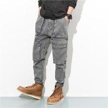 Осень мужчина джинсовые брюки тенденция ретро старинных мотоциклов отделочные джинсы свободные шаровары узкие брюки