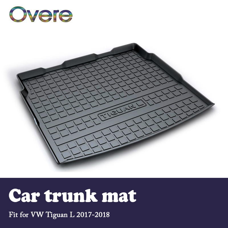 Overe 1Set Car Cargo trunk mat For VW Tiguan L 2017 2018 Car-styling Boot Liner Tray Waterproof Carpet Anti-slip mat Accessories dedicated to the for volkswagen new jetta santana jetta all trunk mat tiguan mogotan ling of car trunk mattrunk boot cargo mat
