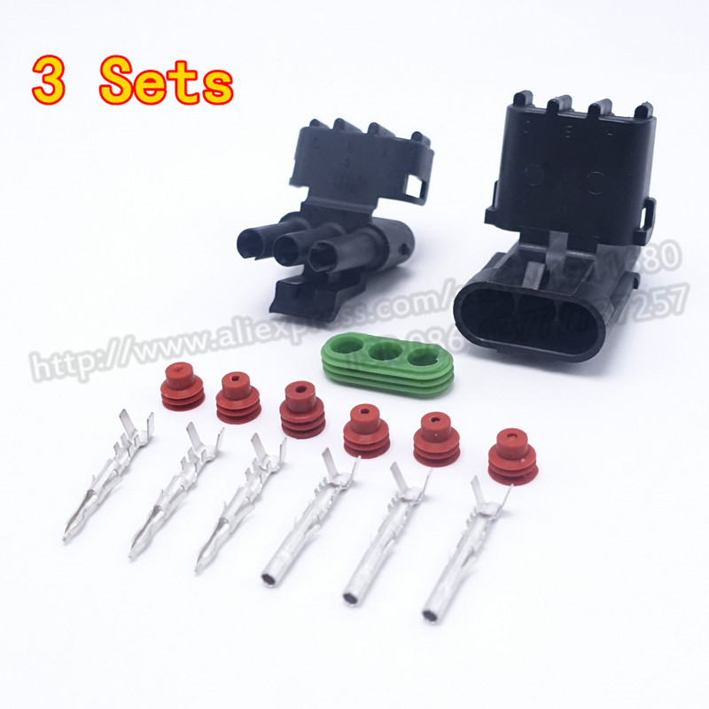 3 Sets 2.5 Male Female Cable Automotive Connector Plug Three Pins Way New Car Parts