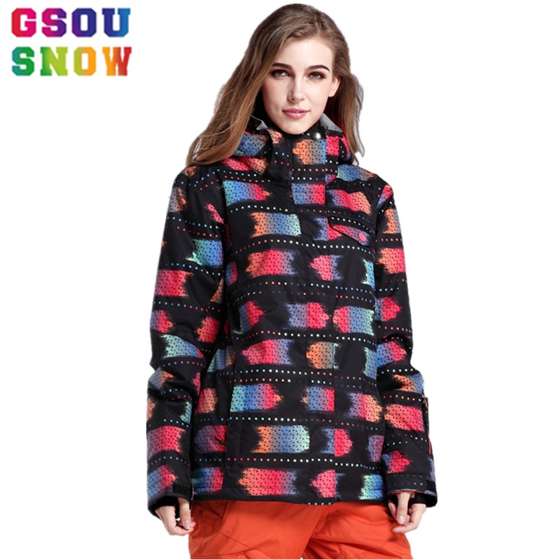 Gsou Snow Ski Jacket Women Winter Snowboard Jacket Waterproof 10000 Breathable 10000 Female Warmth Thermal Sports Ski Clothes hot sale women ladies snowboard jacket waterproof breathable ski jacket female winter snow coat sport motorcycle anorak clothes