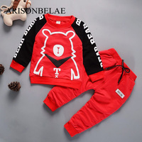 ARISONBELAEN Boys Sportswear Clothes Red Long Sleeve Cute Suit Bear Stitching Baby Clothing Spring Lucky Child