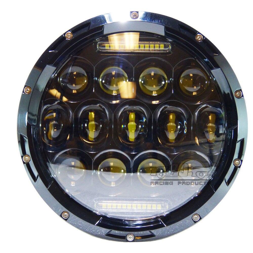 2X 7inch 75W Round LED Headlight Hi-Lo Beam DRL Bulb For Jeep Wrangler JK CJ TJ
