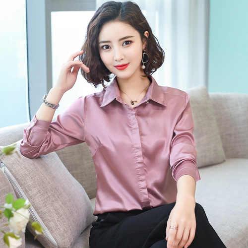 95acfe17e291b5 ... TingYiLi Green Pink Satin Blouse Spring Summer Women Blouse Shirts  Korean Elegant Office Ladies Long Sleeve ...