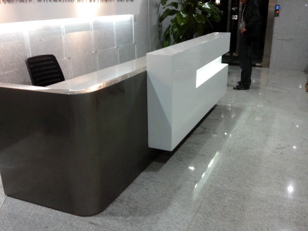 hotel curved marble reception desk table top is panel cabinets qt3000