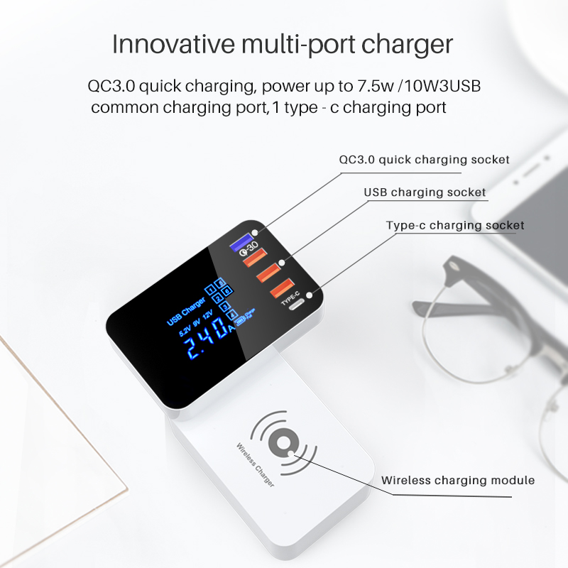 10W QI Wireless usb Charger Quick Charge 3.0 Led Display Type C Multi smart HUB charging station adapter for iphone ipad sumsung