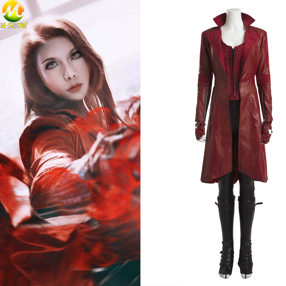 Movie Captain America Civil War Scarlet Witch Cosplay Costume Adult Women Wanda Maximoff Halloween Costume Custom Made