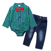 Brand 2pcs Baby Boy Clothes Sets 2017 New Gentleman Suit Baby Rompers Pants Long Sleeve Baby