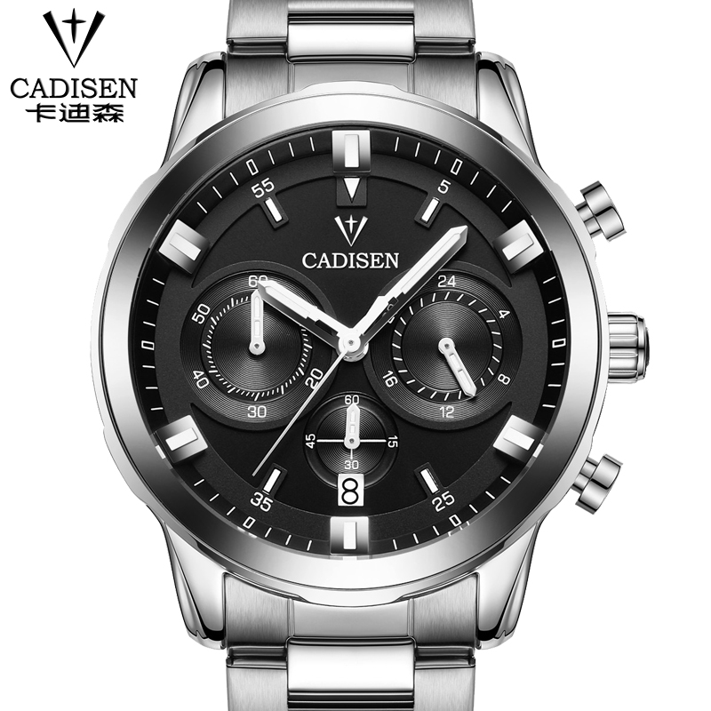 CADISEN Mens Watches Top Brand Luxury Quartz Watch Men Sport Stainless Steel&leather Wristwatch Chronograph Luminous relogio cadisen top new mens watches top brand luxury complete calendar 3atm sport watches for men clock stainless steel horloges mannen