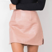 Nadafair New Arrival OL PU Leather Skirts High Waist Sexy Vintage A-Line Office Skirts Womens Solid Mini Bodycon Skirt Plus Size