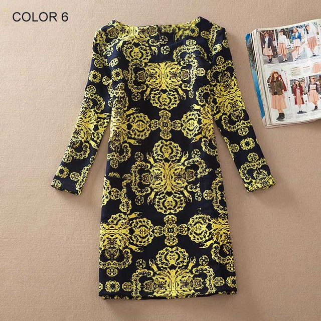 BONGOR LUSS Plus Size Women Clothing Spring Fashion Flower Print Women Dress Ladies Long Sleeve Casual Autumn Dresses Vestidos