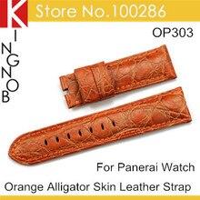 Мода Оранжевый Реального Крокодиловой Кожи Натуральная Кожа Смотреть Band 24 мм Ремешок Для Panerai Бесплатная Доставка