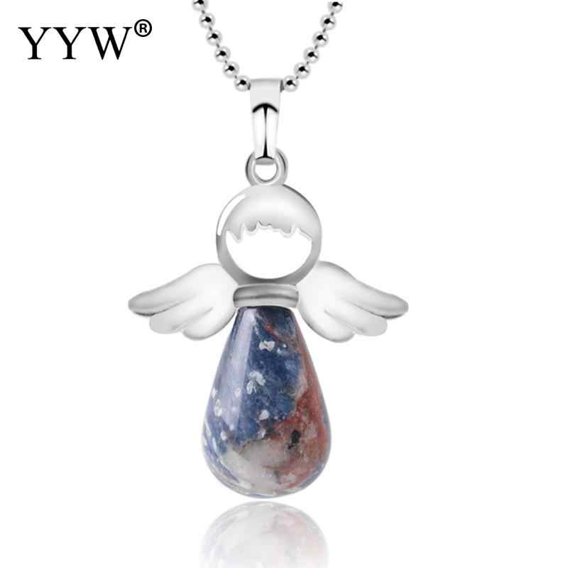 YYW Natural Stone Angel Wings Pendant Necklace Pink Quartz Onyx Silver Color Water Drop Pendants Female Jewelry Gift Pendulum