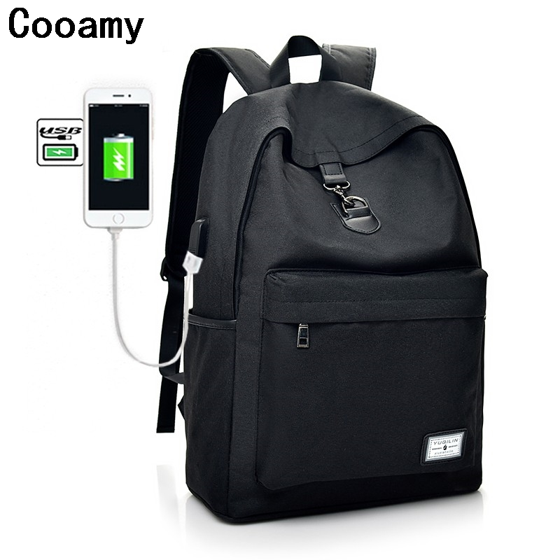 New 2017 Man Backpack USB Charging Canvas Backpacks School Bags For Teenagers Girl mochila feminina Students Laptop Satchel