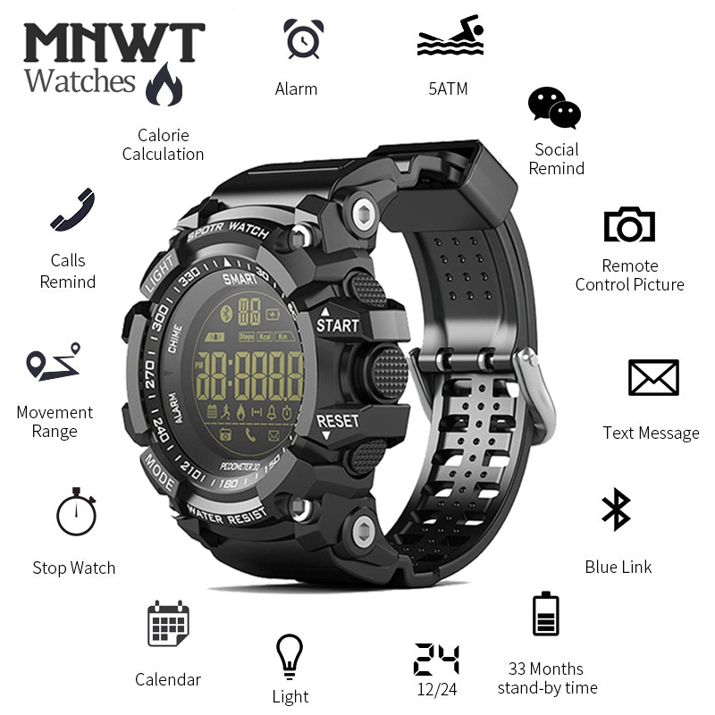 New Mnwt Ex16 Sport Smart Watch 5atm Waterproof Outdoor Activity Tracker Heart Rate Monitor Bluetooth Watch For Android And Ios Always Buy Good Men's Watches Watches
