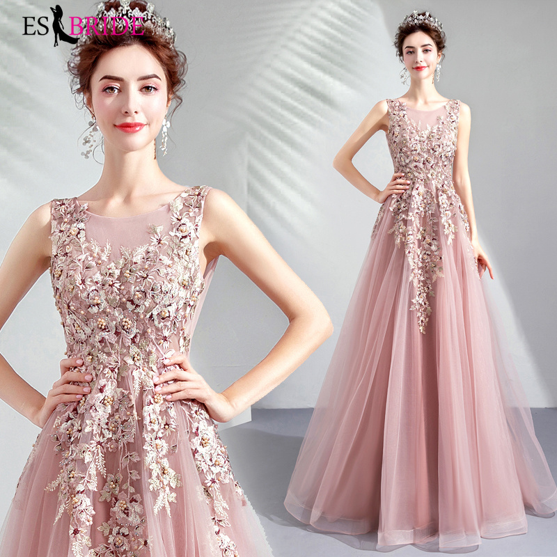Pink Luxury Evening Gowns For Women Lace Appliques Formal Dress New Special Occasion Dresses Long A-line Evening Dress ES2022