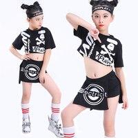 Hip Hop Costumes For Girls Black Top Shorts Kids Street Dance Clothes Modern Jazz Costume Children Performance Wear DNV11003