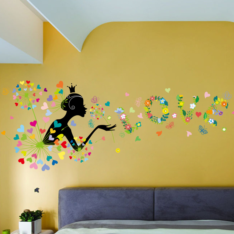 The New Dandelion Girl Flowers Wall Decorations Living Room Wall ...