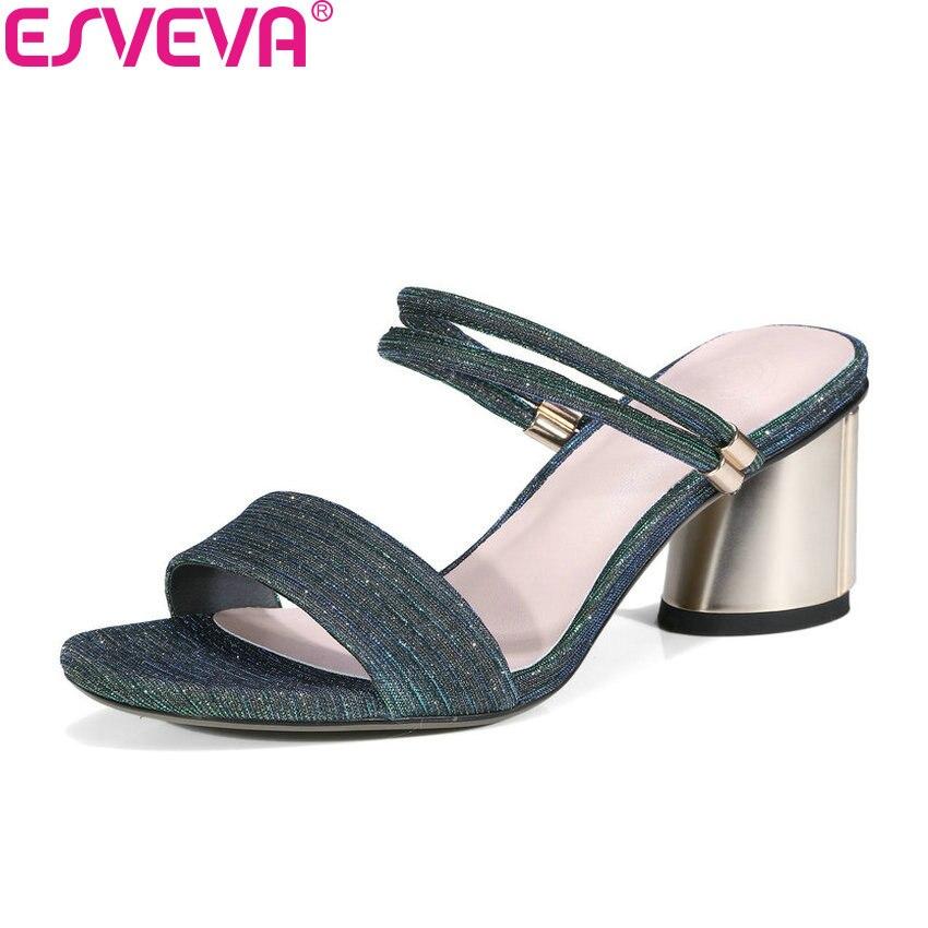 ESVEVA 2018 Western Style Women Sandals Summer Metallic Magic Lattice Pattern PU Square High Heels Sandals Shoes Women 34-42