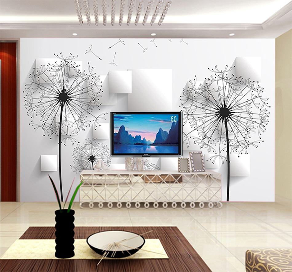 aliexpresscom buy grey white brick lover riding dandelion floral glitter wallpaper walls for 3d livingroom vintage papel de parede pintado tijolo from - Brick Hotel Decoration