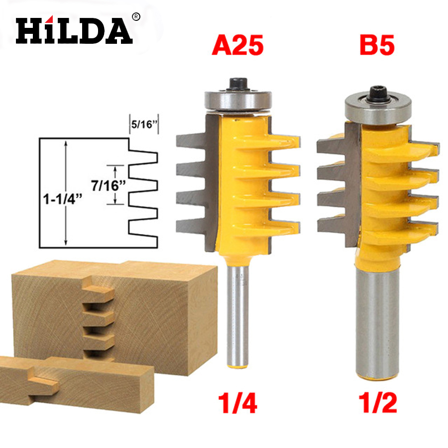 1/4 Shank Rail Reversible Finger Joint Glue Router Bit Cone Tenon Woodwork Cutter Power Tools 2 pcs 1 2t type shank 3teeth tenon cutter 4mm reversible glue bits of high quality dovetail router bits box joint router bit