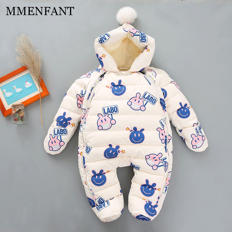 Baby Clothes Warm snowsuit Newborn Baby Rompers Fleece Infant Cartoon pattern Jumpsuits Boy Girl  Winter Christmas Baby Clothes newborn baby rompers autumn winter package feet baby clothes polar fleece infant overalls baby boy girl jumpsuits clothing set