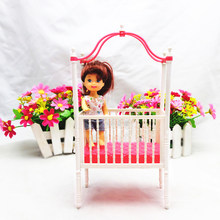 1 Pcs Fashion Baby Infant Crib Bed for Barbies Accessories Cot Dollhouse Dolls Furniture Girls Christmas Gift(China)
