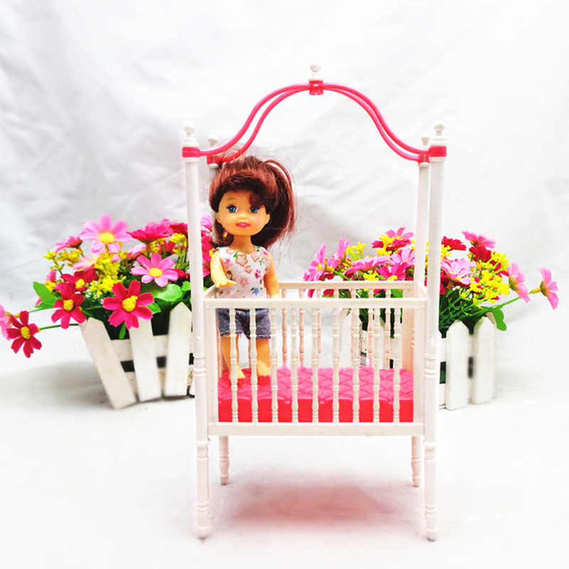 1 шт., модная детская кроватка, кровать для Барби, аксессуары, детская кроватка, кукольный домик, мебель для кукол, рождественский подарок для девочек