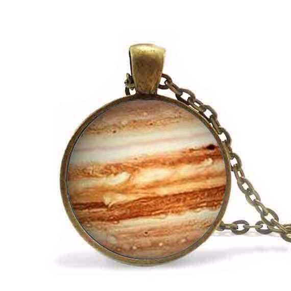 Steampunk Free shipping Jupiter Necklace Glass Pendant Orange Planet Pendant Science Jew ...