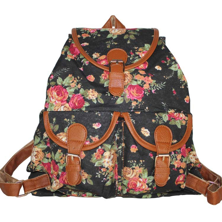 9384f596bb45 4 Colors Printing Flower Vintage Canvas Backpack for Women Casual Daypacks  Retro School Bag for teenager Girls