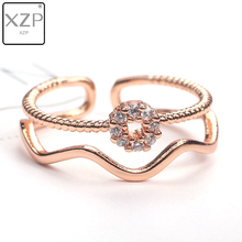 XZP Double Layer Wave Open Wide Adjustable Rings For Women Wedding Jewelry Simple Design Lady Fashion Street Beat