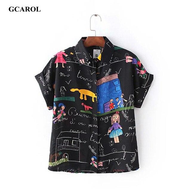 Женщин мультипликационный персонаж печать блузка с отложным воротником шифон рубашка лето симпатичная блузка высокое качество топытуники женскиеБлузкиодежда для женщинкружевоблузка шифонрубашки женскиеженские рубашки