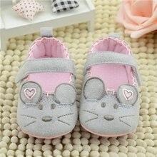 Meninas bonitos Do Bebê Primeiros caminhantes Algodão Cinza Rato Dos Desenhos Animados Suave com Padrão de Sombreamento Suave Sole Prewalkers Sapato de Bebê Toldder 3 tamanho