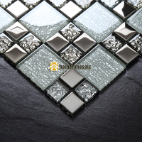 crystal glass mixed sliver plating metal mosaic tiles EHGM1079 for bathroom and kitchen backsplash tiles free shipping