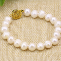 Natural white 8-9mm freshwater cultured beads nearound pearl charms strand bracelets bangle for women gift jewelry 7.5inch B3176