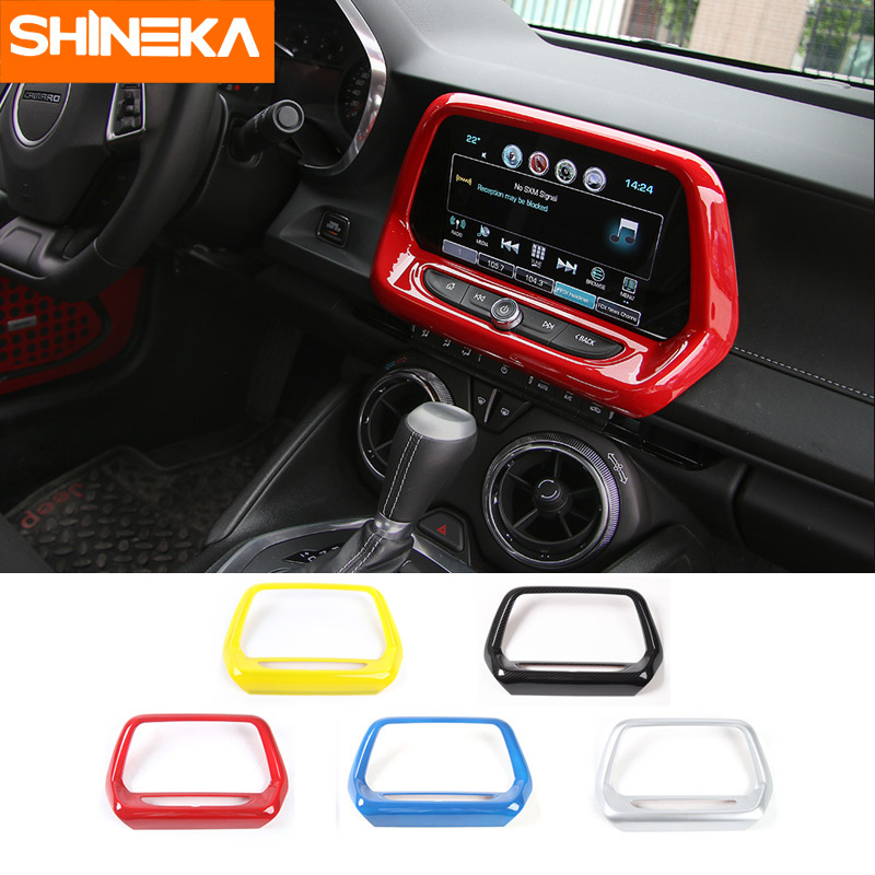 SHINEKA ABS 5 Colors GPS Navigation Panel Cover Media Screen Frame 8.0 inch for 6th Gen Chevrolet Camaro 2017+ Car Styling