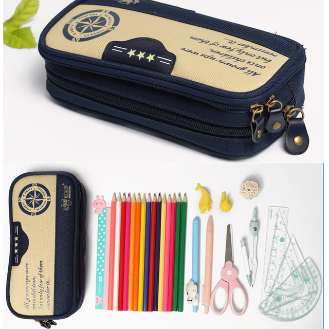 Pencil Case Office Navy Canvas Pencil Bag Students Sail Compass Ruddder  Anchor Pen Box Retro Stationery