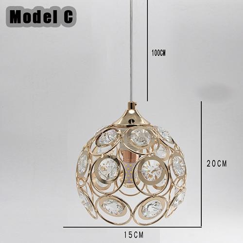 Светодиодный подвесной светильник с кристаллами, лампа для столовой, золотой подвесной светильник, светильник для бара, столовой, подвесной потолочный светильник для кухни(DN-50 - Цвет корпуса: Model C Withou Bulb