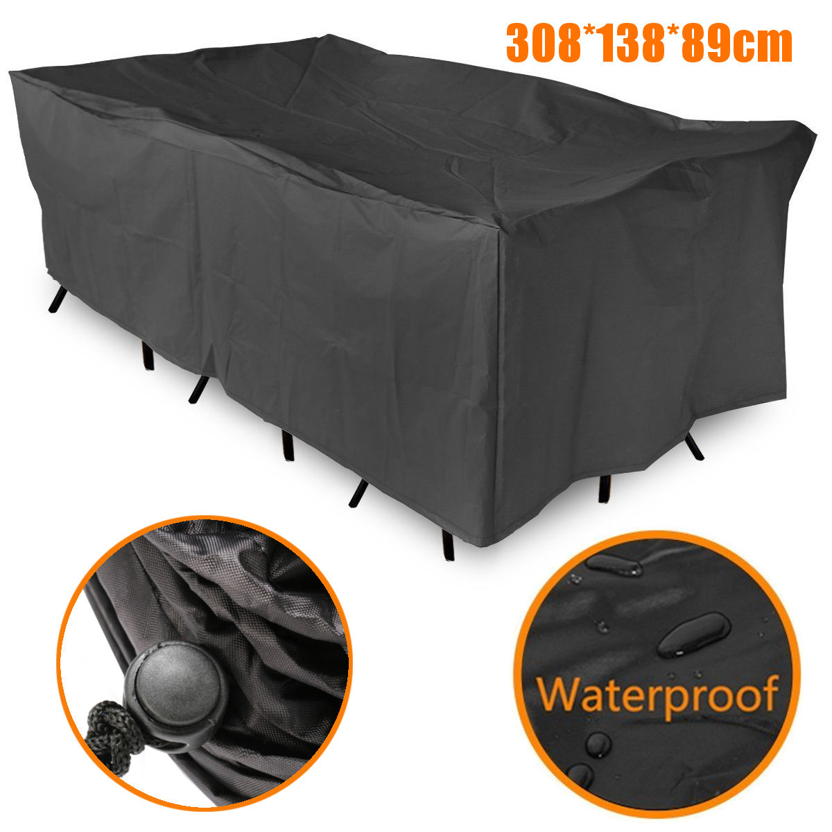 Furniture Dust Cover Fabric: 308x138cm Waterproof Patio Garden Furniture Cover Chair
