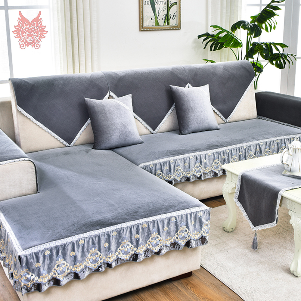 Modern Grey Blue Fleece Velvet Sofa Cover Furniture