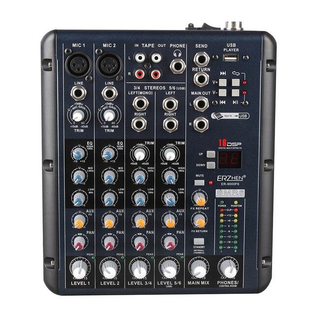 Звуковой Микшер Караоке Звуковой Микшер ER-9000F6 Смеситель Аудио Микрофонный усилитель караоке ОК Смеситель