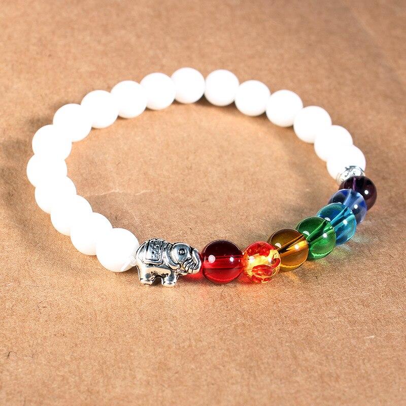 ISINYEE Fashion Candy Color Elastic Rope 7 Chakra Bracelets For Women Men Handmade Elephant Natural Stone Bracelet Jewelry 2