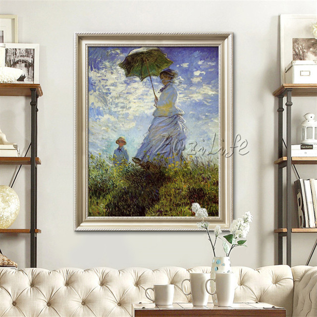 Claude Monet Oil Painting Umbrella Woman Caudros Decoracion Art Reproduction Wall Art Wall Pictures For Living Room Home Decor In Painting